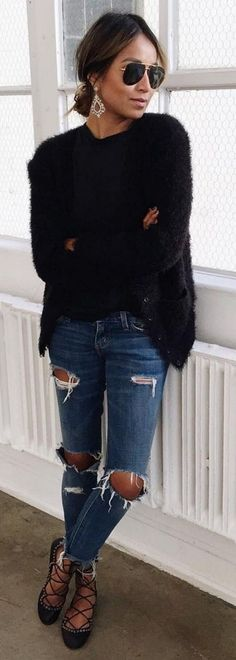 #sincerelyjules #spring #summer #besties | Fuzzy Black + Ripped Denim