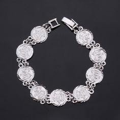Allah Bracelets Women Men Gifts New Trendy Platinum/18K Real Gold Plated Islamic Fashion Jewelry 19 CM Link Chain Bracelets
