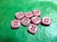 "8 - 3/8"" PINK PLASTIC 4-HOLE BUTTONS - VINTAGE Lot#NL592"