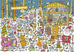 Anja Boretzki: Weihnachtswimmelbild Wheres Wally, Hidden Pictures, Creative Activities, City Photo, Kindergarten, Quilts, Blanket, Artist, Crafts