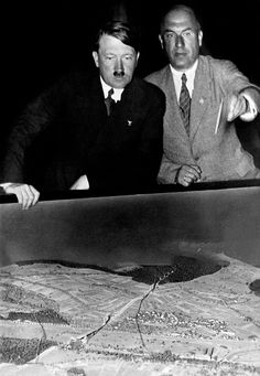 Adolf Hitler with Dr. Fritz Todt in late 1933. Todt's death in 1942 elevated Albert Speer to Armaments Minister. A highly favorable outcome for Germany. (via putschgirl)
