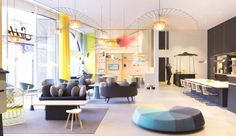 French design studio Constance Guisset has created a homely interior concept for the lobby of the Accor hotel group's Suite Novotel in The Hague. Design Entrée, Lobby Design, Deco Design, Hotel Lobby, Hotel Interiors, Office Interiors, Interior Concept, Interior Design, Design Suites