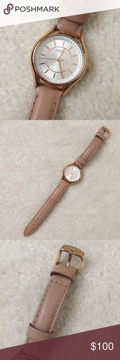 Fossil | Leather Watch Beautiful rose gold watch with diamond details and neutral colored, genuine leather band. Very feminine and classic, goes with all outfits and for wrists of all sizes! Excellent condition, worn a couple times max. Fossil Accessories Watches