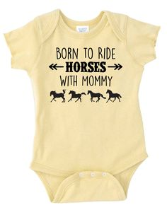 Born to Ride Horses With Mommy Baby Onesie, Infant Baby Shower Gift for Girls Boys or Surprise, Yellow Blue Gray Purple Equestrian Clothing
