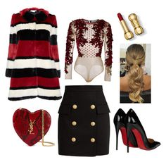 """""""Fall classy festive outfit!"""" by melinabaltogianni on Polyvore featuring Alice + Olivia, Balmain, Yves Saint Laurent and Christian Louboutin"""