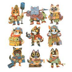 Some Frivolous Fishing Felines Cat Character, Game Character Design, Character Design Animation, Character Design References, Character Design Inspiration, Character Concept, Cartoon Styles, Cute Cartoon, Geek Art