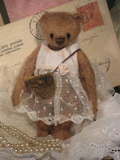 Miniature Mohair Artist Bear OOAK 'Sissy' 4.5 by oldpostofficebear, £170.00