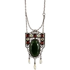 Alexis Bittar 1910 Garnet, Peridot, Green Aventurine and Pearl... ($1,400) ❤ liked on Polyvore featuring jewelry, necklaces, pearl pendant, peridot pendant necklace, garnet pendant necklace, green aventurine necklace and green pendant necklace
