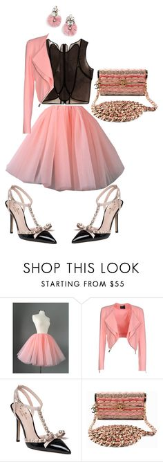 """""""Bubble gum pink date night"""" by marissasekayi ❤ liked on Polyvore featuring Delpozo, Pinko, Kate Spade, Chanel and BaubleBar"""