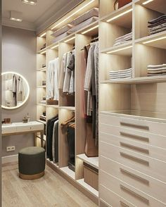 37 Luxury Walk In Closet Design Ideas and Pictures Walk In Closet Design, Bedroom Closet Design, Master Bedroom Closet, Closet Designs, Bedroom Decor, Bedroom Furniture, Closet Clean, Cleaning Closet, Wardrobe Room