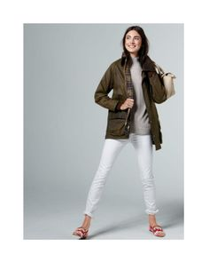 """Brown jacket (my """"leather"""" one would work), light grey sweater, cuffed white skinny jeans, colorful loafers"""