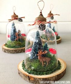 Woodland Cloche Ornaments Hi all! I hope you've all had a wonderfu… Woodland Cloche Ornaments Hi all! I hope you've all had a wonderfu…,Sah Woodland Cloche Ornaments Hi all! Rustic Christmas Ornaments, Woodland Christmas, Vintage Christmas, Christmas Decorations, Ornaments Ideas, Glass Ornaments, Ornaments Recipe, Peacock Christmas, Angel Ornaments