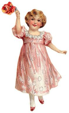 vintage little girl in pink dress with flowers