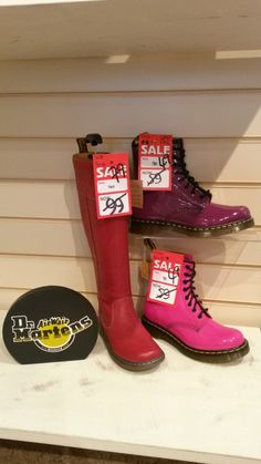 in the sale of Louth. Fantastic funky boots for this cold weather! Dr. Martens, Dr Martens Boots, Valentine Day Gifts, Valentines, Hunter Boots, Red And Pink, Cold Weather, Rubber Rain Boots, Colours