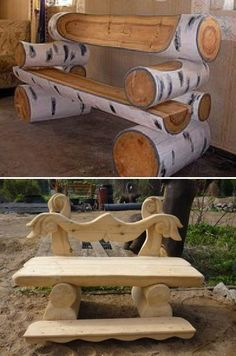 artistic wood stained log bench | Unique handmade wooden benches for rustic backyard designs