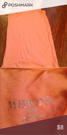 """Orange tank top! This is cute to layer or to wear on its own! It has no holes or stains, it comes from a smoke free environment! I ship Monday-Friday. """"No trades, holds, or modeling. And no sales outside poshmark."""" Price is firm Merona Tops Tank Tops"""