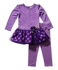 Loving this Purple Polka Dot Tunic & Leggings - Infant & Girls on #zulily! #zulilyfinds
