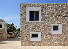 Stone from a local quarry provided the cladding, paving and retaining walls of this holiday home by DVA Arhitekta, built on a site in Bosnia and Herzegovina Home Design, Villa Design, Brick And Stone, Stone Walls, Stone Facade, Stone Houses, Modern Buildings, Maine House, Architecture Details