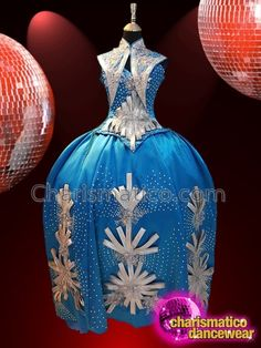 Blue Victoria Silver Crystallized Floral Embroidered Show Girl Drag Queen Gown Drag Queen Costumes, Queen Outfit, Victoria, Jpg, Showgirls, Cabaret, Dance Wear, Floral, Christmas Bulbs