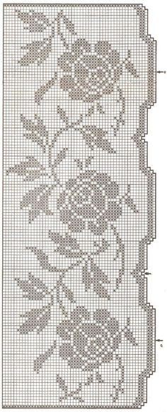 This Pin was discovered by Тво Filet Crochet Charts, Crochet Borders, Crochet Diagram, Knitting Charts, Knitting Yarn, Crochet Stitches, Knitting Patterns, Crochet Curtains, Crochet Edgings