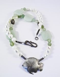 Genuine Jade & Pearl Hill Tribe Fish by PaulasOriginalDesign