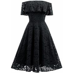 Changuan Women's Vintage Floral Lace Off Shoulder A-Line Cocktail... ($29) ❤ liked on Polyvore featuring dresses, vintage swing dress, vintage lace dress, vintage floral dress, a-line cocktail dresses and cocktail party dress