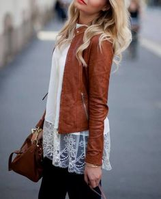 Love the lace and leather combo