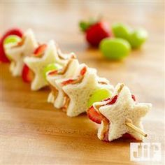 PB & J mini sandwiches Fruit Kabobs