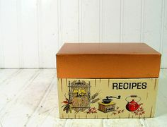 Copper Litho Metal Recipe Box  Vintage J Chen and by DivineOrders, $9.00