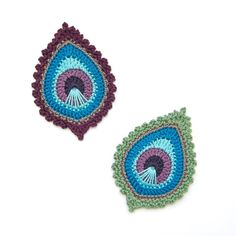Crochet PATTERN Peacock Feather motif Java por TheCurioCraftsRoom