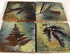 """4 backsplash accent tegels 4 inch steengoed keramische tegels of Coaster tegels in """"Green Leaf"""" glazuur botanische tegels handgemaakte"""