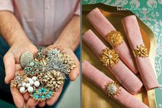 What to do with broken jewelry? Napkin rings from old costume jewelry! I loooooove this idea!!!
