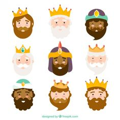 Three kings of orient, characters Free Vector Christmas Crafts For Kids, Christmas Projects, Christmas Time, Merry Christmas, Epiphany Crafts, Three Wise Men, Animal Masks, Christmas Illustration, Felt Art