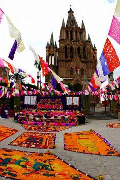 Day of the Dead Festival, San Miquel de Allende, Flower Art at La Parroquia
