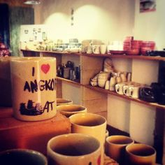 The first floor of #khmerceramics shop in #alleywest very near #pubstreet is finally open. #Shopping #art #souvenir #ceramics #pottery #activities #siemreap #cambodia  website: www.khmerceramics.com Ceramic Art, Cambodia, Centre, Pottery, Ceramics, Flooring, Activities, Mugs, Website