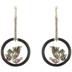 Alexis Bittar Crystal Drop Earrings ($240) ❤ liked on Polyvore featuring jewelry, earrings, multicolor, multi colored earrings, tri color earrings, white crystal earrings, white drop earrings and white earrings