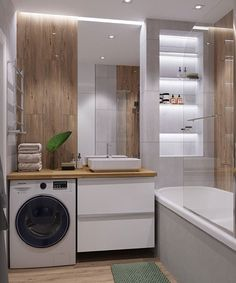 One of the Most Overlooked Options for Contemporary Bathroom Leafy Wallpaper… – Badezimmer einrichtung Minimalist Bathroom Design, Bathroom Layout, Modern Bathroom Design, Contemporary Bathrooms, Bathroom Interior Design, Small Bathroom, Master Bathrooms, White Bathrooms, Luxury Bathrooms