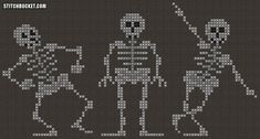 Dancing Skeletons Cross Stitch Pattern by StitchBucket on Etsy Funny Cross Stitch Patterns, Cross Stitch Charts, Cross Stitch Designs, Cross Stitch Skull, Fall Cross Stitch, Cross Stitching, Cross Stitch Embroidery, Embroidery Patterns, Pixel Art Animals