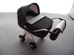 1/12th scale modern black micro dot with white waffle lining  pram, buggy, stroller, baby carriage hand crafted miniature via Etsy