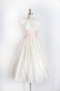 vintage 1950s dress // 50s pink polka dot prom by TrunkofDresses