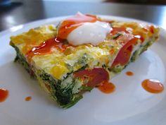veggie egg casserole - Budget Bytes - eggs, frozen spinach, tomatoes, cheese