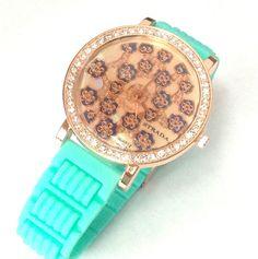 Brand new item!  Women's Fashion Quartz Watch Crystals Rosetone / Turquoise Silicone Strap 44MM #Strada #Fashion
