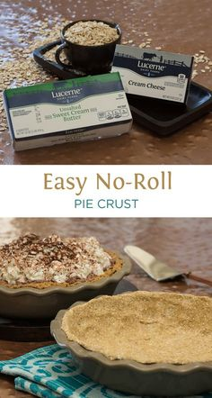 Easy No-Roll Pie Crust - SUPER easy pie crust that's delicious and different! It is just 3-ingredients (oats, cream cheese, and butter), and the food processor does the work! This easy recipe works awesome for cream pies.