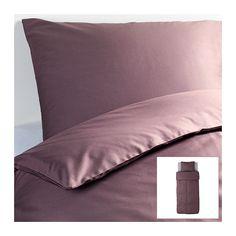 IKEA - GÄSPA, Dynebetræk og 1 pudebetræk, 140x200/60x70 cm, , Satinvævet sengetøj af bomuld er meget blødt og behageligt at sove i, har en flot glans og ser smukt ud på din seng.Kæmmet bomuld giver sengetøjet en ekstra glat og ensartet overflade, der føles blød mod din hud.Skjulte trykknapper holder dynen på plads.