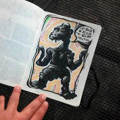 Monstruo, boceto básico a  lapiz de Fabio Corcoles y entintado de Ezequiel Canovas. 2016.