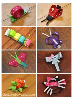 Creature Collection (Set of 8) - Caterpillar, Butterfly, Dragonfly, Turtle, Snail, Lady Bug, Elephant, & Kitty Ribbon Sculpture Bows