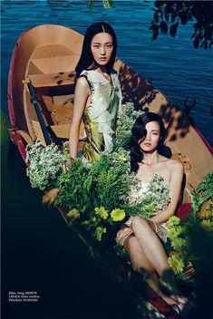 """Floral Dreams"" : Yue Han, Jin Chen Hong, + Jay Shin : Elle Vietnam January 2013…"
