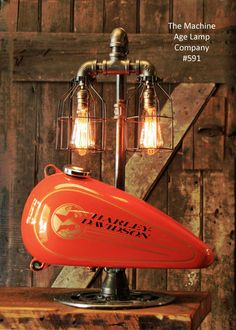 Steampunk Industrial Lamp, Harley Davidson Motorcycle Gas Tank #591 Design Inspirations