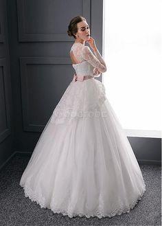 Robe de mariée mode de bal col en v dentelle vintage - photo 2