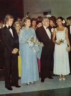 The young Prince Albert of Monaco attends his first Red Cross Ball, on August 9, 1974, with his sister, Princess Caroline and their parents,...